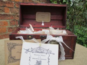 Wishing Well Chest & 50 Vintage Postcards