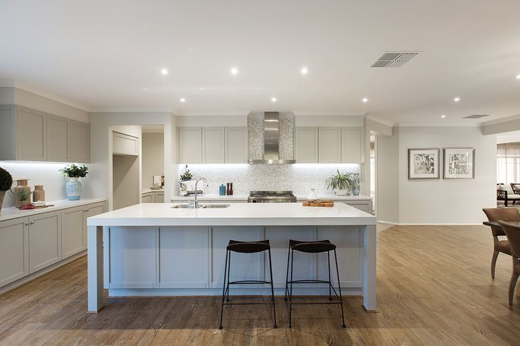 White open plan kitchen styled in a Classic Hamptons World of Style.