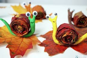 Ślimaki z liści i plasteliny