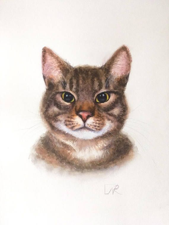 Striped Cat original watercolour painting. Cat art painting