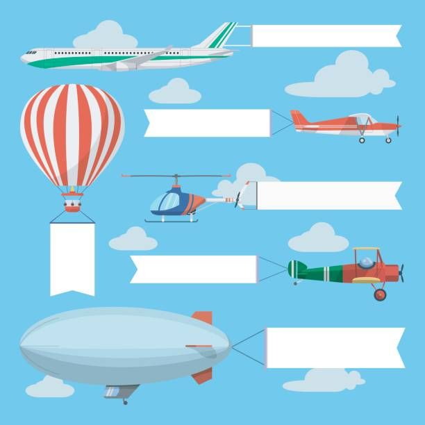 Flying Planes Helicopter And Airship Pulling Advertising Banners Vector Art Illustration Banner Advertising Helicopter Fly Plane