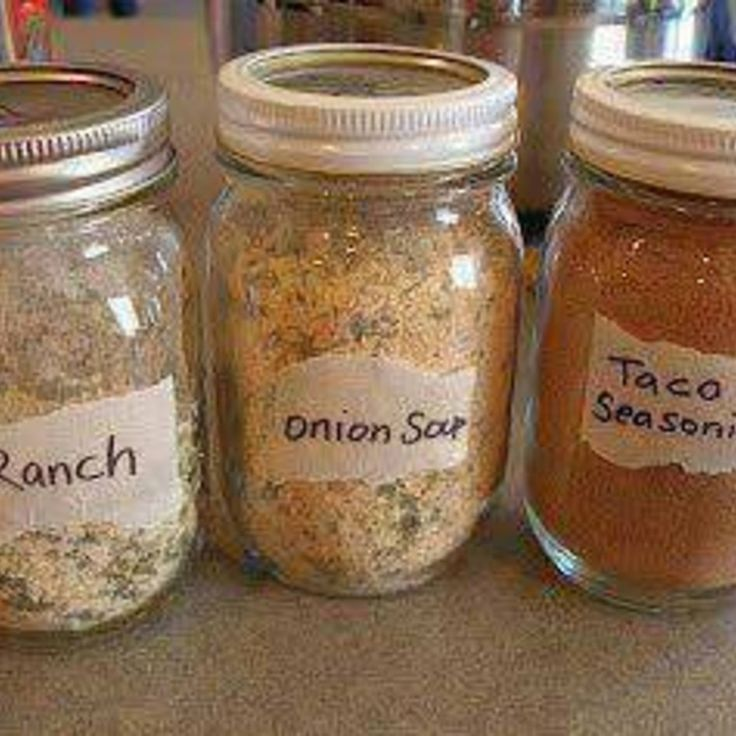 Make your own Ranch, Dry Onion Soup Mix and Taco Seasoning and store in small mason jars