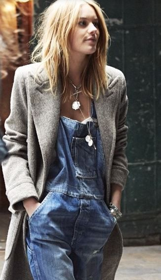 everything about this look, so cool // denim overalls + slouchy jacket