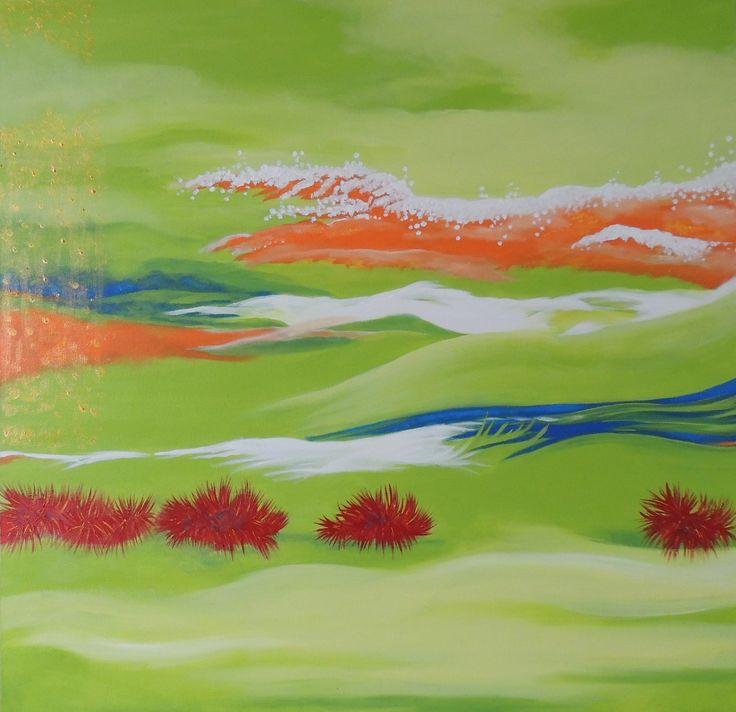 """ Liquid Sunshine"" abstract piece 30''x30''"