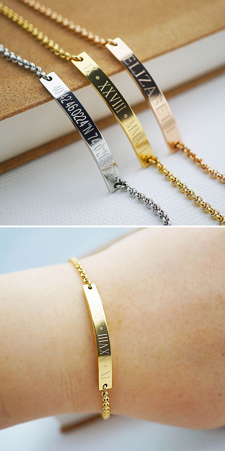 Personalized engraved Stainless Steel Bracelets from EarringsNation Rose gold wedding roman date coordinates bracelet