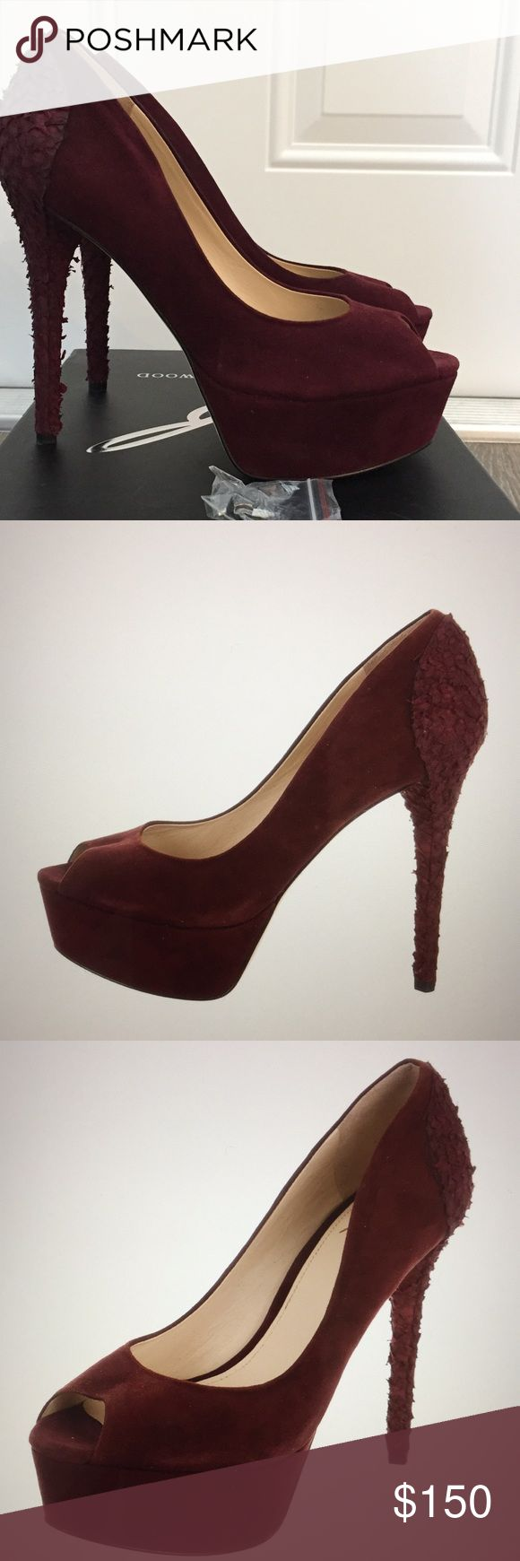 "B Brian Atwood Pumps Worn Once!!! Tag still partially on, comes with box & extra heel taps. Gorgeous, sexy, burgundy suede platform pumps with peep toes, leather fish scale covered heels. Heels 5.5"", platform 1.5"". Absolutely comfortable. Pristine. B Brian Atwood Shoes"