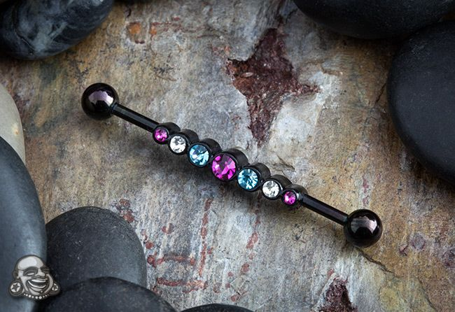 Black-coat industrial barbell with multi colored gems