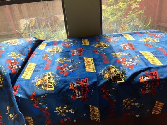 Toddler Bed Sheet Set in blue red and yellow Optimus Prime