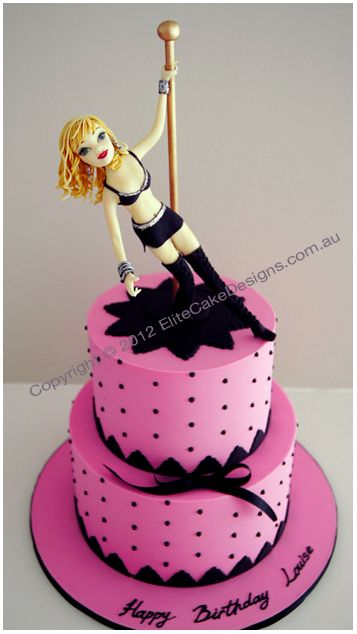 Pole Dancer-Stripper Birthday Cake, idea for hubbies Bday maybe ?