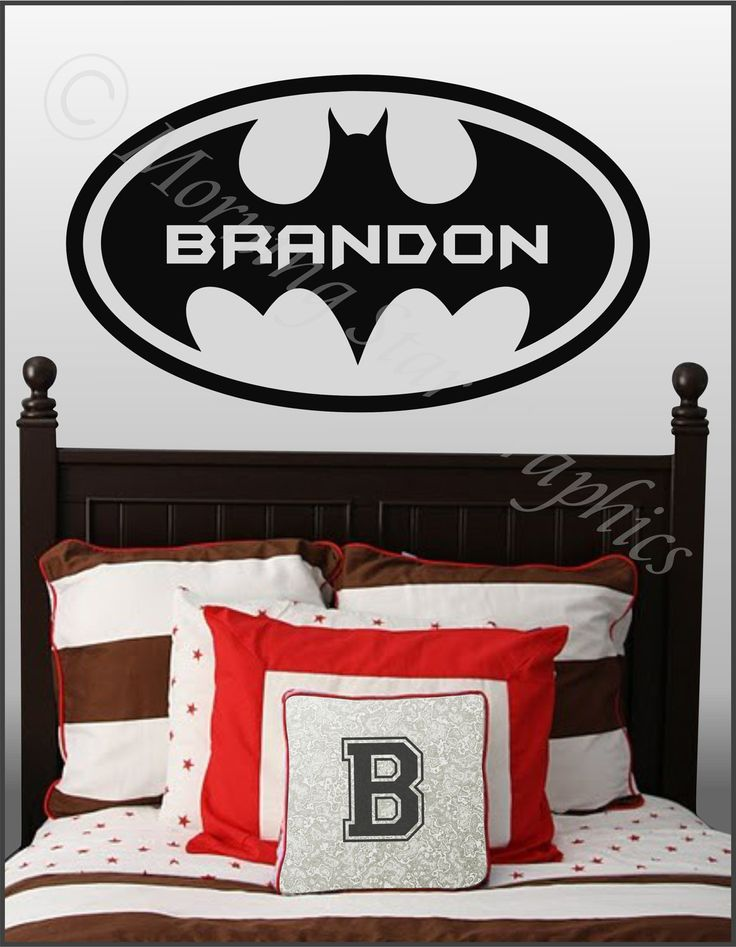 Kids room batman personalized with name large vinyl wall for Kids batman room