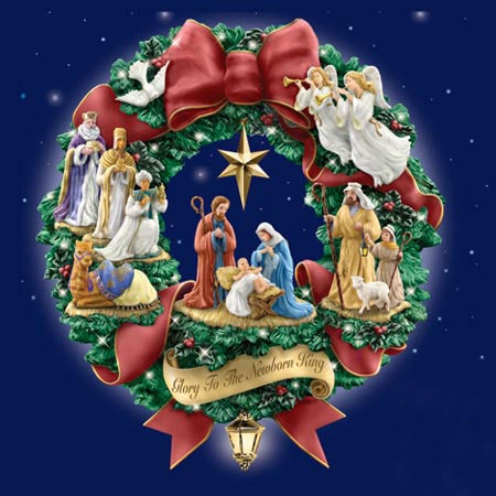Thomas Kinkade lighted nativity wreath