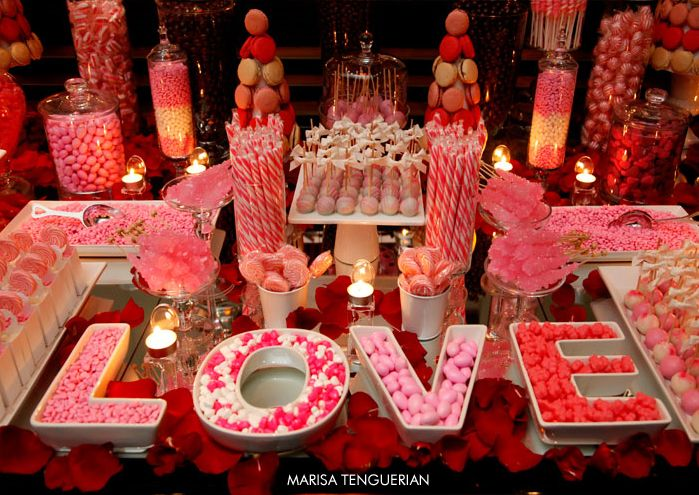 Candy Table, because everybody loves sweets! Let your guests have a treat.