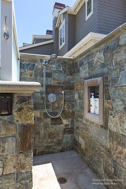 Elemental Design Group | Eichler Elegance   Watch the cinematic video for this photo. Click the tags on the full-sized image to see this photo in motion!  #outdoorshoweridea #showerroomdesign #outdoorshower