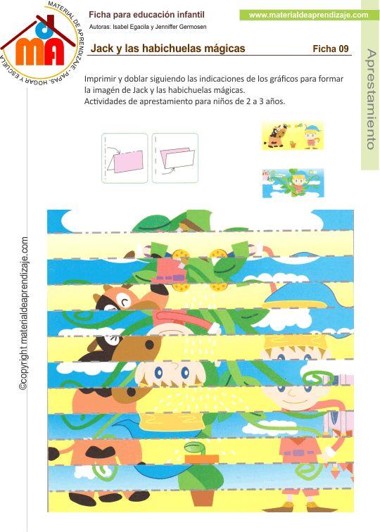 Imprimir y doblar siguiendo las indicaciones de los gráficos para formar la imagen de Jack y las habichuelas mágicas. Actividades de aprestamiento para niños de 2 a 3 años.