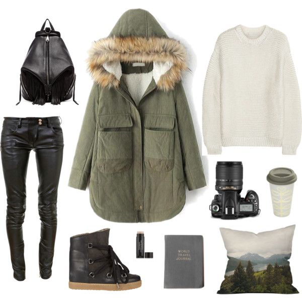 """3blacksheep9;intothewoods"" by blacksheep39 on Polyvore #parka #leatherpants #backpack #travel #comfy #staywarm"