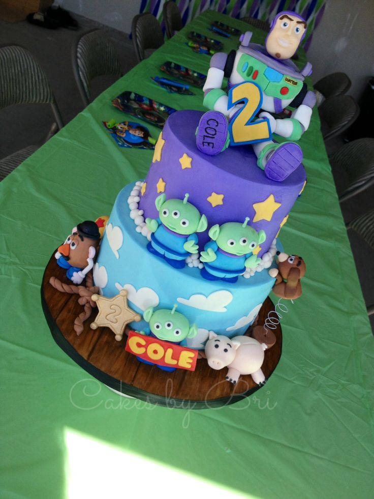 Toy story birthday cake! Buzz lightyear fondant topper. Aliens, potato head, slinky dog, Hamm. Cakes by Bri.