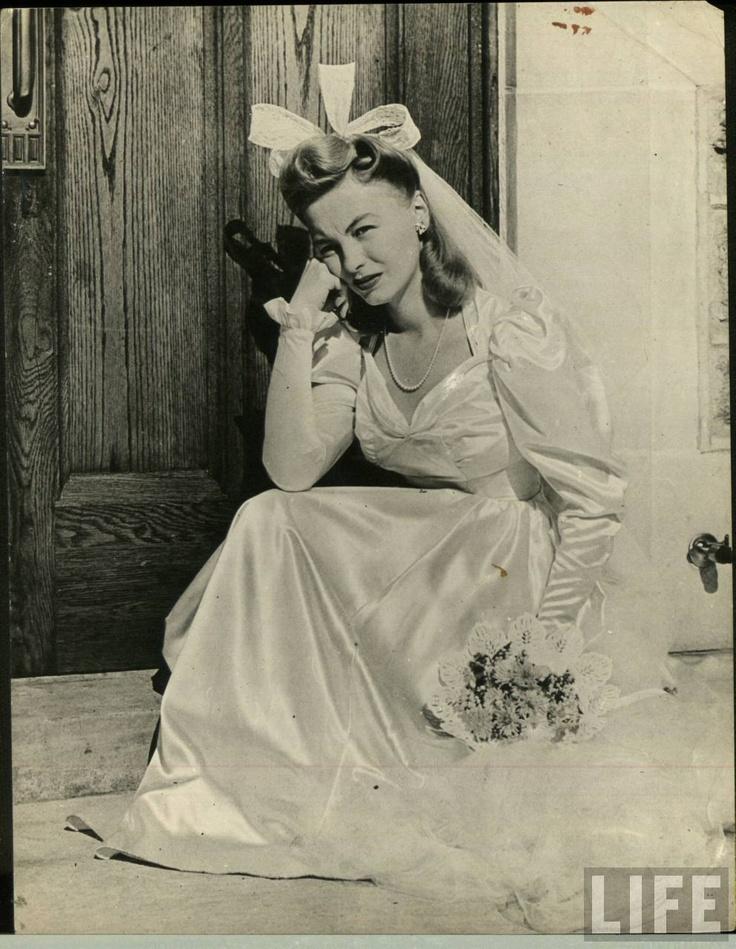 A 1940s  Bride, vintage wedding gown, dress