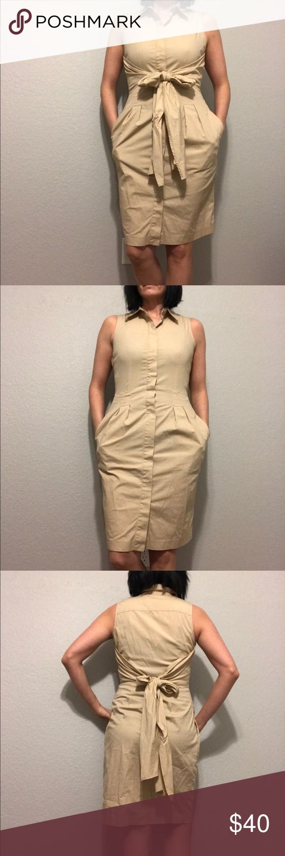 Talbots Button Up Tie Dress Tan shirt dress, button down,  belted  / 98% cotton, 2% spandex. I'm not sure if the tie goes in front or back 🙈 but it looks really cute either way! This also has pockets. Talbots Dresses