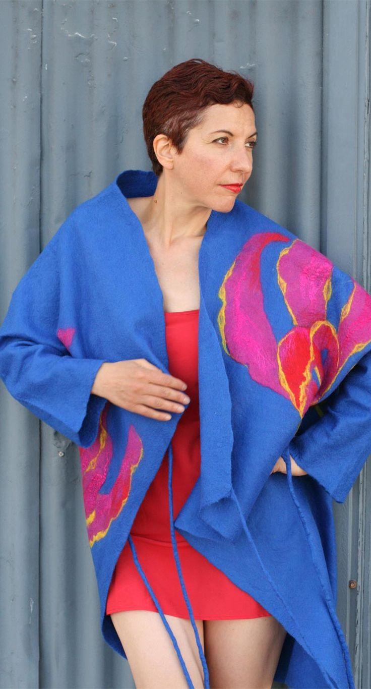 Buy fashion style unique felted blue jacket by Vera Alexanderova. #fashion #designers #wearables #handmade #blue #coat #jacket #felt #felted