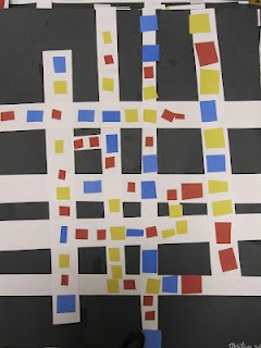 Collage based on Mondrian's Broadway Boogie Woogie. From blog The Clever Feather: A lil' Mondrian-Kindergarten