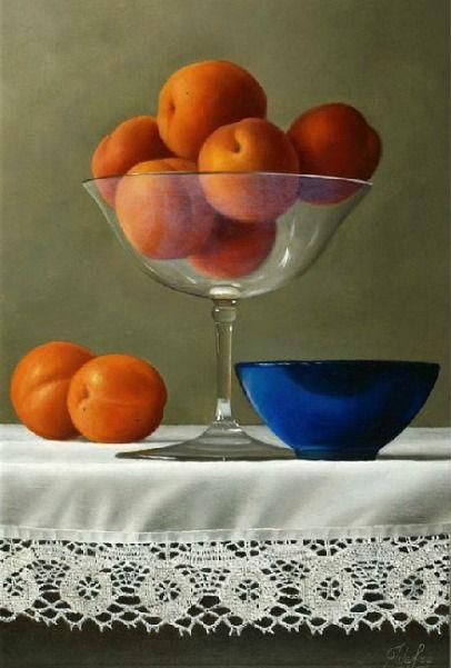 Johan de Fre Apricots in a Fragile Glass 21st century