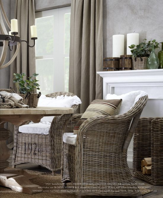 Stenciled wicker chairs`via Artwood