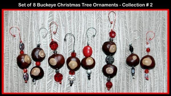 State of Ohio BUckeye Christmas Tree Ornaments
