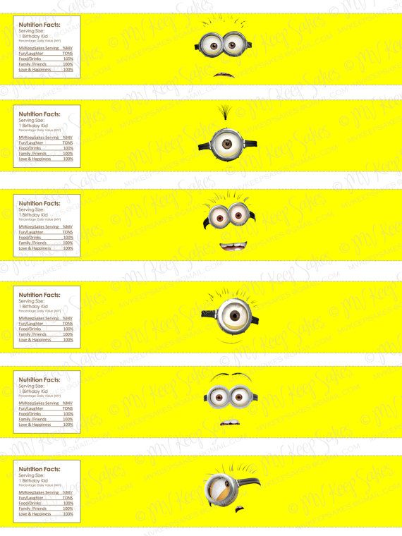 Free Printable Water Bottle Labels | Printable Despicable Me Water Bottle Labels Set of by MVKeepSakes
