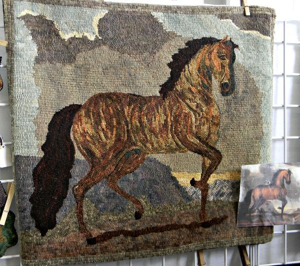 Primitave rug hooking #Arts and #Crafts horse portrait at #NYS Sheep and Wool Festival
