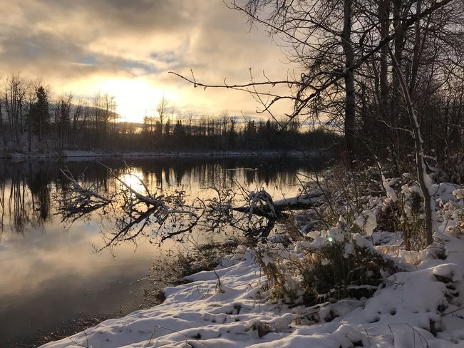 Mattawishkwia River Northern Ontario winter sunset Hearst, ON, Canada
