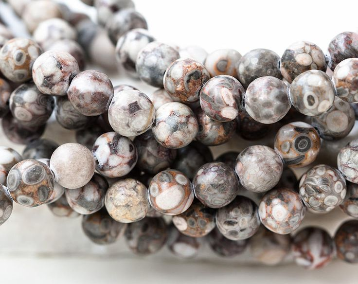 2603_Petrified wood beads 8 mm, Multi colored beads, Round beads, Natural tree fossil, Beige beads, Gray stone beads, Grey petrified wood. by PurrrMurrr on Etsy