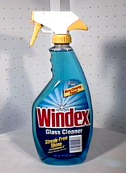 Fake Windex: 1 Empty Windex-sized Spray Bottle  1/8 Cup (1oz) White Ammonia  1/4 Cup (4oz) Isopropyl Rubbing Alcohol  1 Drop Laundry Detergent  Water - To Fill The Bottle