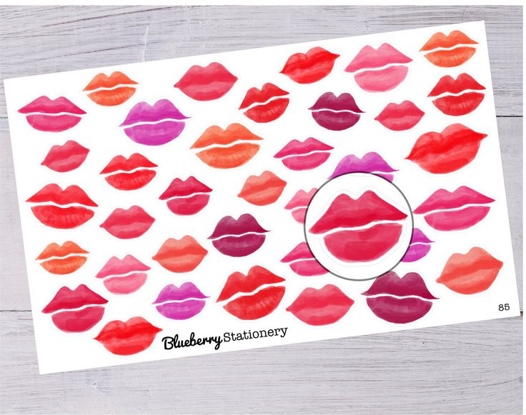 lip stickers Planner. kiss. Valentine. Love. Office stickers. Letter stickers. stationery. Filofax. scrapbook. Project life, Reminder. Note. de la boutique BlueberryStationery sur Etsy