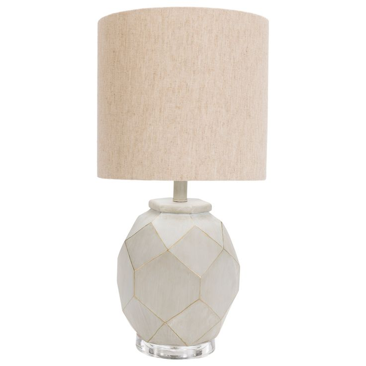 Gorgeous Illumination Comes To Living Rooms And Bedrooms With The Surya Alma Table Lamp In A Neutral White Hue Geometric Body Offers Fresh Contemporary
