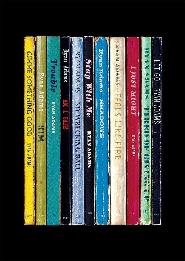 Ryan Adams Poster Print 2014 Eponymous Album As Books Literary Print Paperback Books Art Pulp Fiction Rock Music Poster Music Art