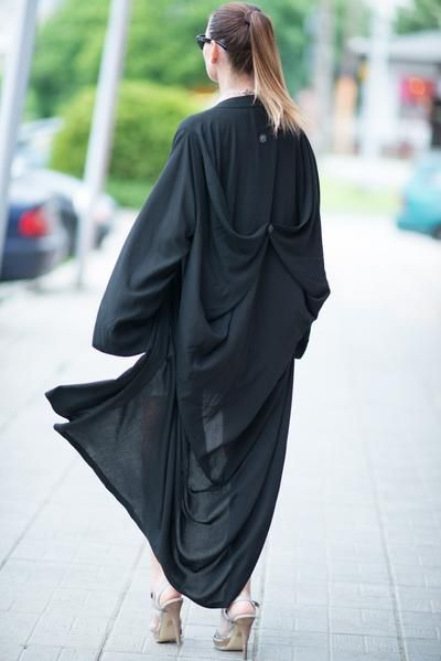 e6b86beaabe Black Cotton Abaya Loose Maxi Dress