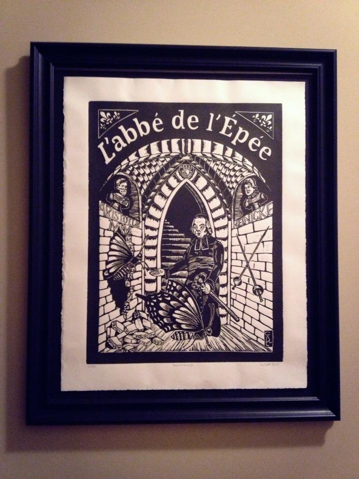 L'abbe de l'Epee linocut in custom frame