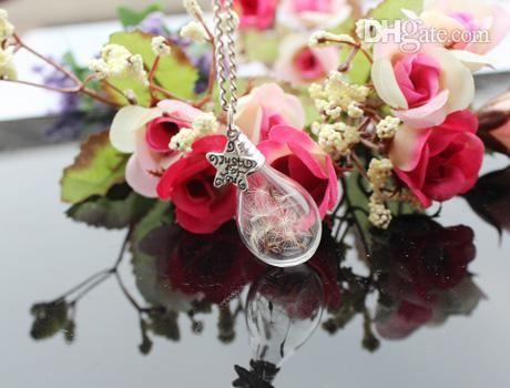 5шт 31x18mm Стекло Teardrop Одуванчик Ожерелье, Загадать Желание Одуванчик Семени Полые Бусины Из