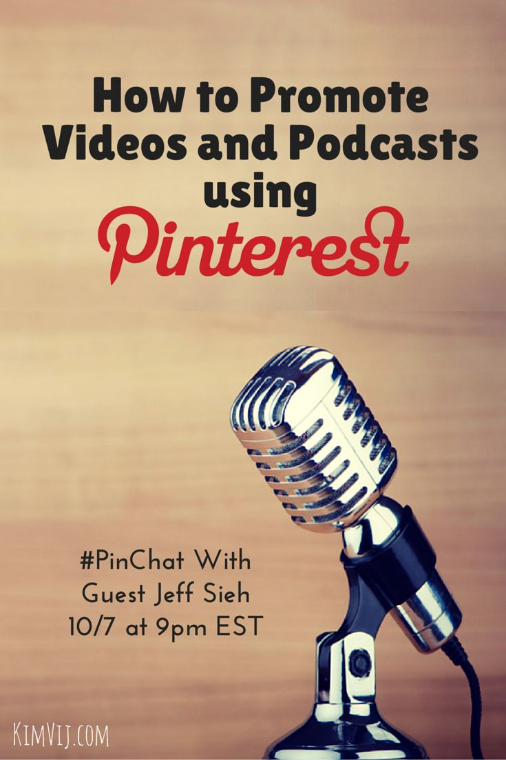 How to Promote Videos and Podcasts using Pinterest is the topic of this week's PinChat with guest @jeffsieh . Plus we'll talk about Periscopes and Blabs too!   PinChat is hosted weekly by Kelly Lieberman and Kim Vij