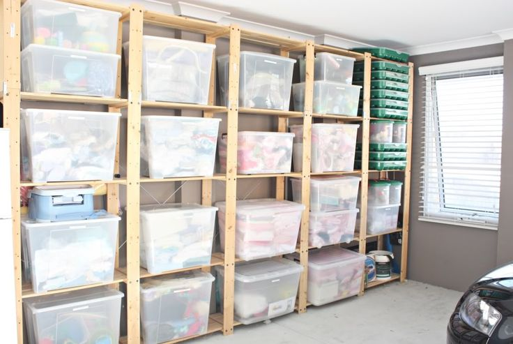 Great idea for basements or garage. Shelving with clear bins. Idea for ...