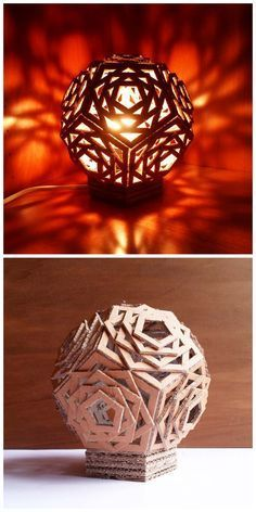 Geometric Cardboard Lamp #lighting #upcycle #dodecahedron