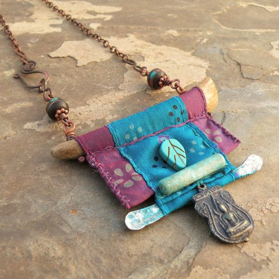 Nomadic Scroll Necklace, Silk Wrapped Antler Necklace with Buddha Amulet, Purple, Turquoise