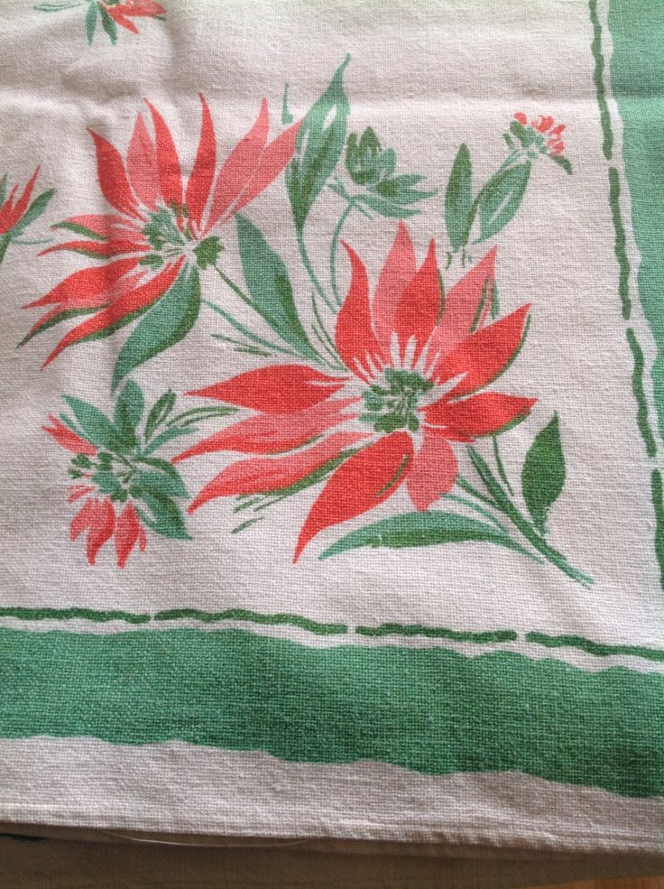 fab vintage table cloth floral exotic flowers green red water melon kitsch 50s linen tea time funky retro boho shabby chic fun white by ReworkedHomewares on Etsy