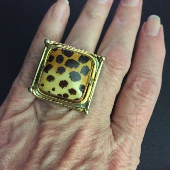"Animal print ring Crazy cute animal print ring in gold tone. Measures just over 1"" square. Adjustable. Need a gift box?  I'm glad to ship in one Jewelry Rings"