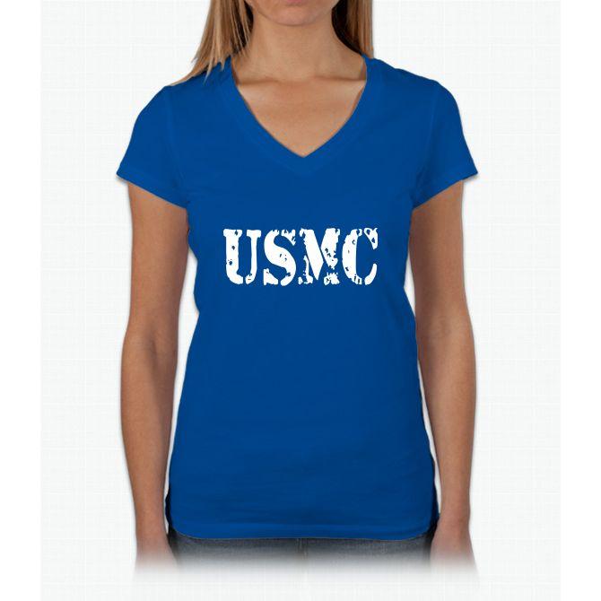 Usmc T Womens V-Neck T-Shirt