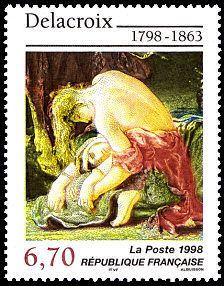 «Entrée des croisés dans Constantinople» (detail)  by Delacroix 1798-1863 - French post stamp, circa 1998