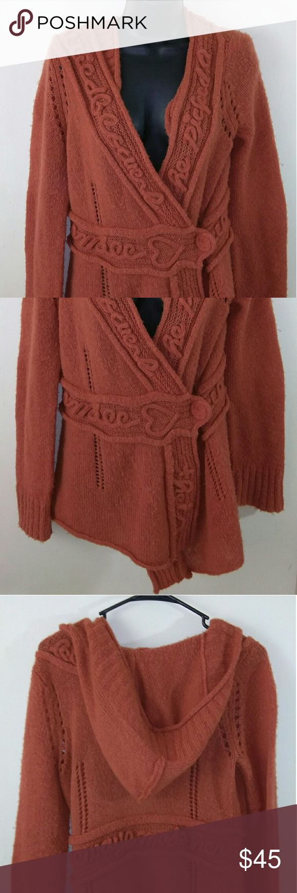 "Sleeping on snow by Anthropologie hoodie Anthropologie sleeping on snow burnt orange women's hooded sweater with beautiful embroidery in good preowned condition Armpit to armpit 19"" Length 29"" Sleeve 26"" Thanks for stopping by Anthropologie Sweaters V-Necks"
