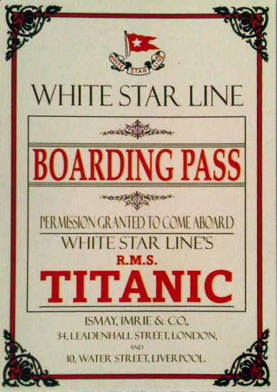 606 best titanic images on pinterest artists boat and cottage white star line titanic boarding pass postcards pronofoot35fo Images