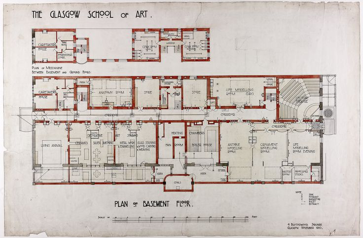 Design for Glasgow School of Art: Plan of Basement Floor by Charles Rennie Mackintosh. Archive reference: MC/G/82