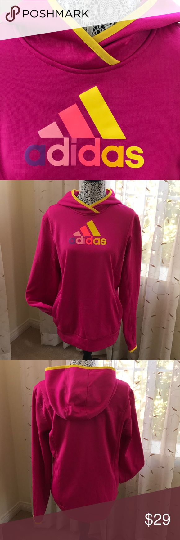 NWOT Adidas ClimaWarm Hoodie in Ladies Large Adidas ClimaWarm Hoodie in ladies size large, brand new without tags, never worn.  Energize your work out & brighten up your day with this colorful & cozy hoodie! With this bright color, you're sure to infuse some fun while getting fit or simply lounging. Thanks for shopping my closet!💕 adidas Tops Sweatshirts & Hoodies
